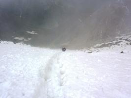 Спуск с вершины Северный Доломит